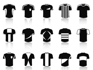 black t-shirt soccer clothing icons set