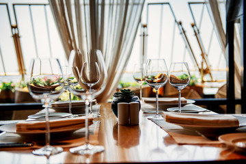 Served table with glasses