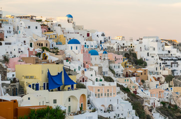 Stunning view of Oia village homes at sunset, Santorini - Greece