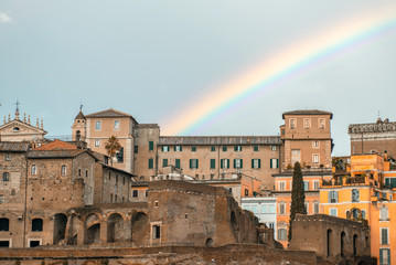 Rome. Imperial Forums, view at sunset with rainbow