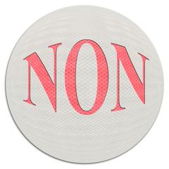 """mot """"non"""" sur balle blanche"""