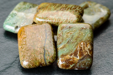 Cushion shaped jasper beads