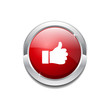 Thumbs Up Circular Vector Red Web Icon Button