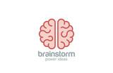 Brain flat style vector logo design. Brainstorm concept - 66595493