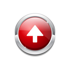 Up Key Circular Vector Red Web Icon Button