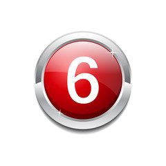 6 Number Circular Vector Red Web Icon Button