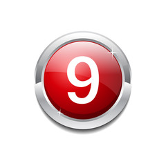 9 Number Circular Vector Red Web Icon Button