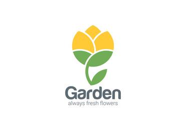 Flower abstract vector logo design. Creative garden icon