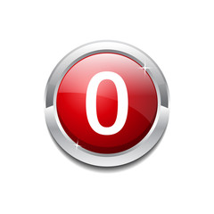 0 Number Circular Vector Red Web Icon Button