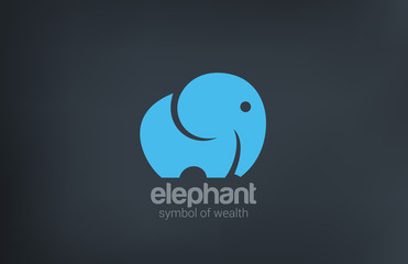 Elephant silhouette vector logo design. Animal icon