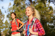 Active women - hiking girls walking in forest