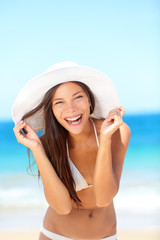 Beach woman happy on travel laughing cute