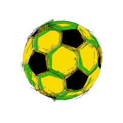 Brazil vector black grunge soccer ball on white  easy all editab