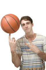 man cool with basketball