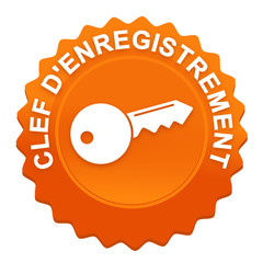 clef d'enregistrement sur bouton web denté orange