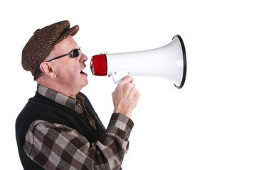 Senior Man Shouting Through Megaphone