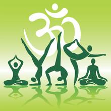 Yoga posities silhouetten op groene achtergrond