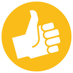 Thumb up icon over orange label