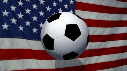 Soccer Ball rotates with animated USA flag - background