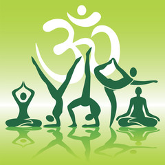 Yoga positions silhouettes on green background