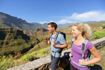 Hiker couple hiking on Gran Canaria