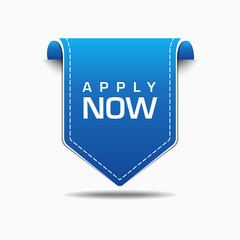 Apply Now Blue Label Icon Vector Design