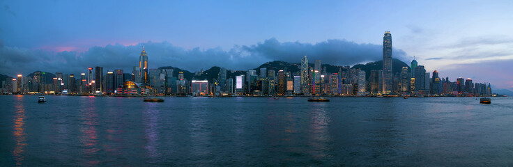 Hong Kong Island Central City Skyline Evening