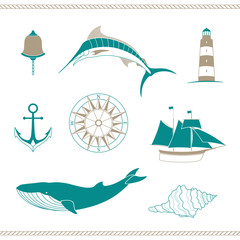 Vector Illustration of Nautical Design Elements