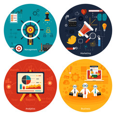 Icons for marketing, management, analytics.