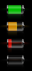 Glossy transparent battery level indicator