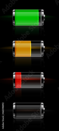 Glossy transparent battery level indicator - 66598892