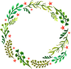 Natural floral circle background with green leaves and red stars