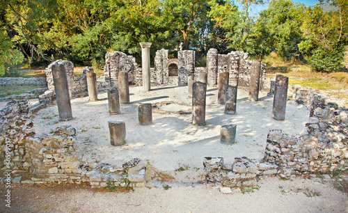 Remains of the ancient Baptistery at Butrint, Albania. - 66599057