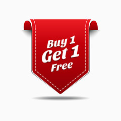 Buy 1 Get 1 Red Label Icon Vector Design