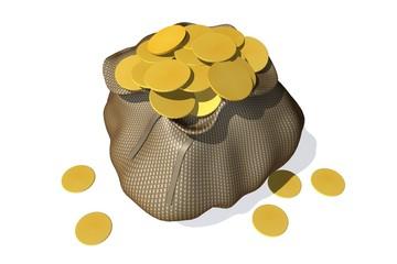Zak met gouden munten