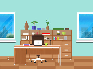 Modern office interior with designer desktop
