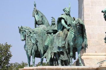 Equestrian statue in Heroes Square in Budapest, Hungary