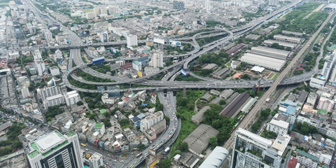 Aerial view over the biggest city in Thailand