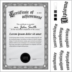 Black and white certificate. Template. Vertical.
