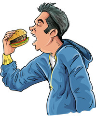 Cartoon teen eating a hamburger