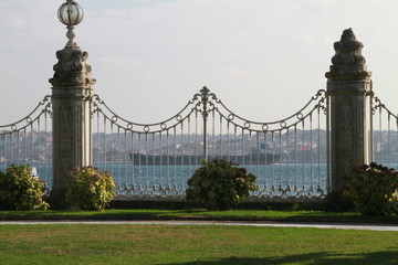 Guardrails inside Dolmabahce palace in Istanbul, Turkey