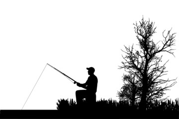 Vector silhouette of fishermen.