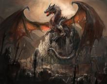 """Постер, картина, фотообои """"Dragon castle"""""""