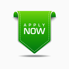 Apply Now Green Label Icon Vector Design