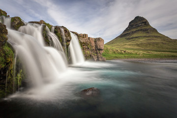 Icelandic Mountain and Waterfall