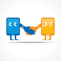 Businessman handshake with tablet stock vector