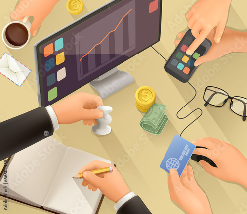 Workplace vector background flat design