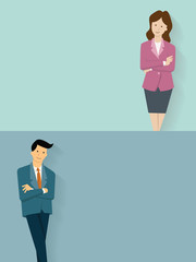 Confident businessman and woman