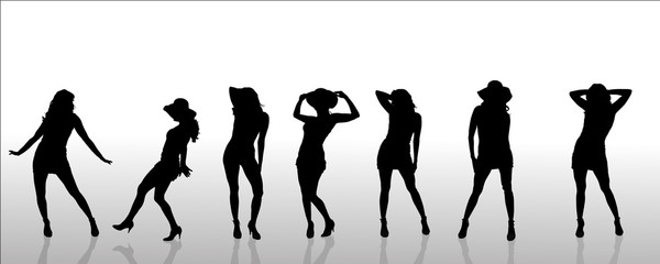 Vector silhouettes of sexy women.