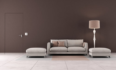 Brown contemporary living room